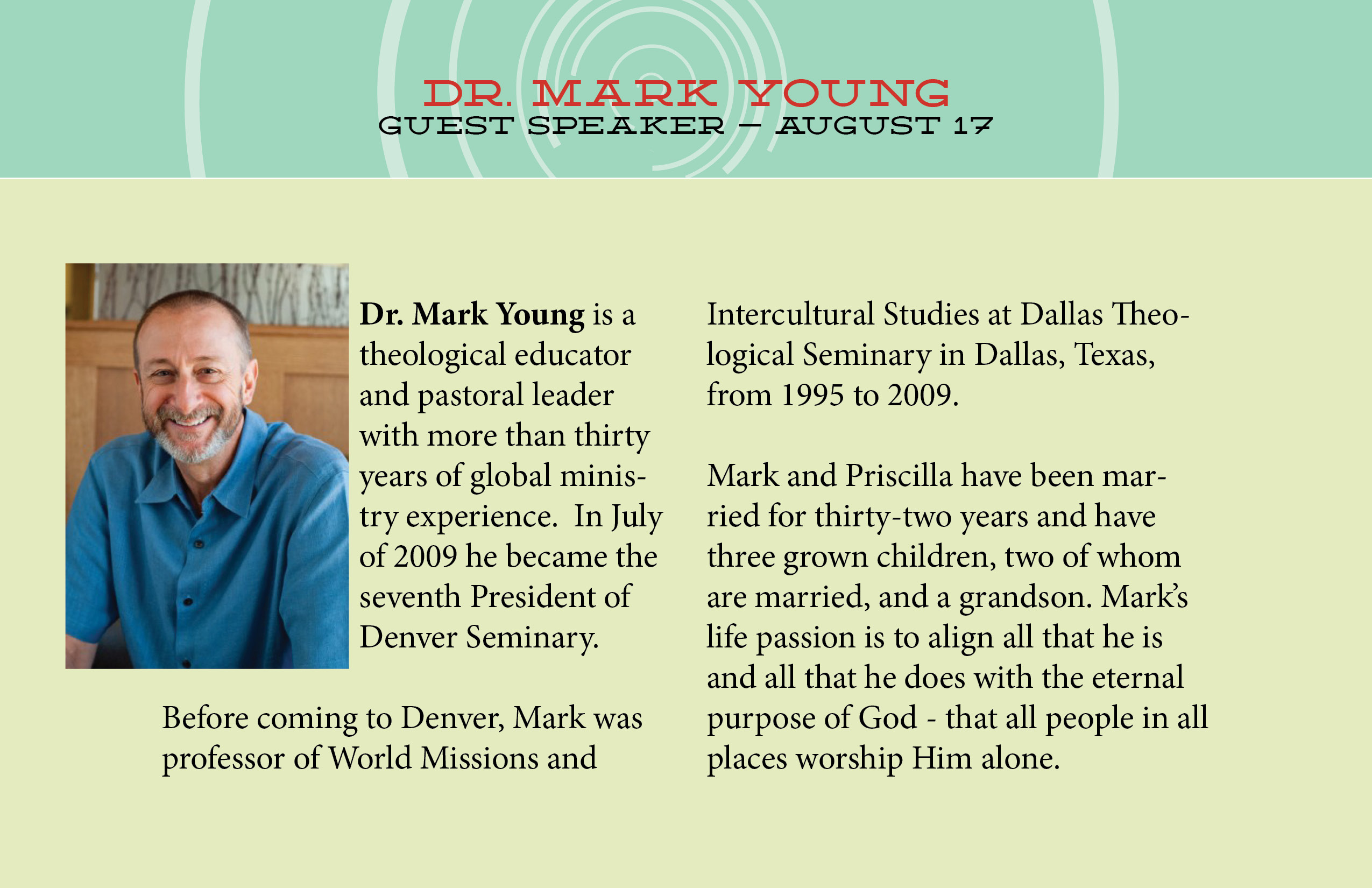 August 17th Dr. Mark Young
